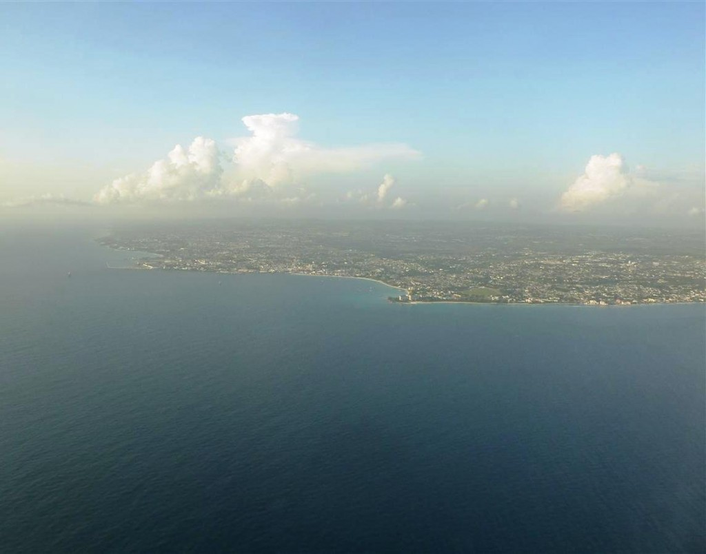 Flying into Barbados - coastal view